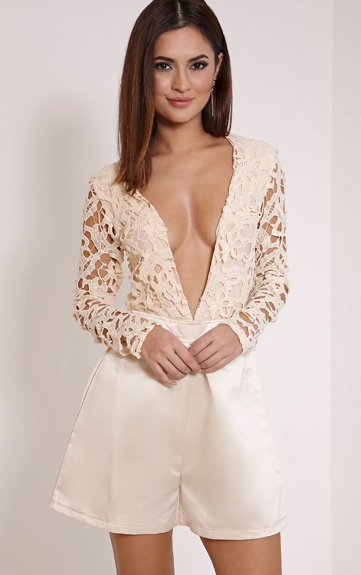 Mailey Champagne Crochet Lace Plunge Playsuit 1