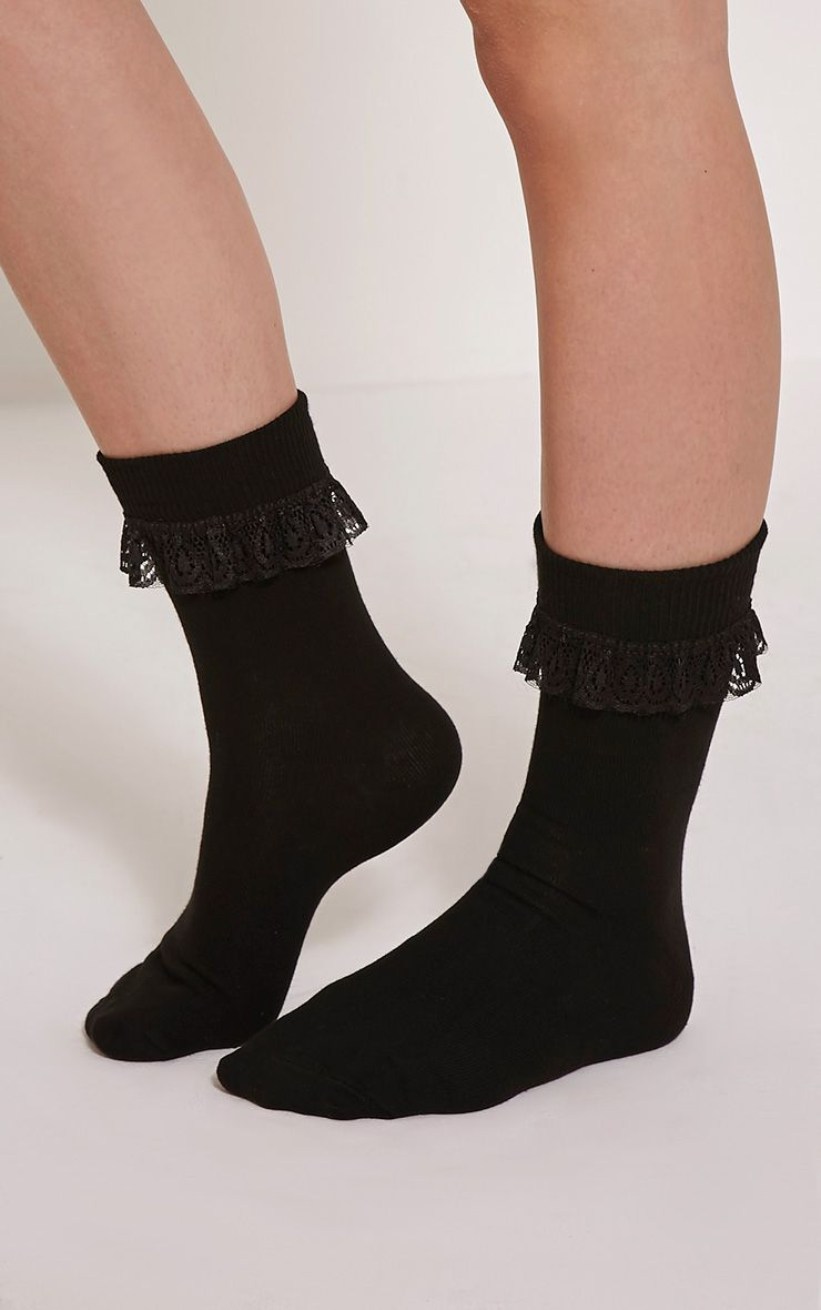 Macy Black Lace Frill Ankle Socks 1