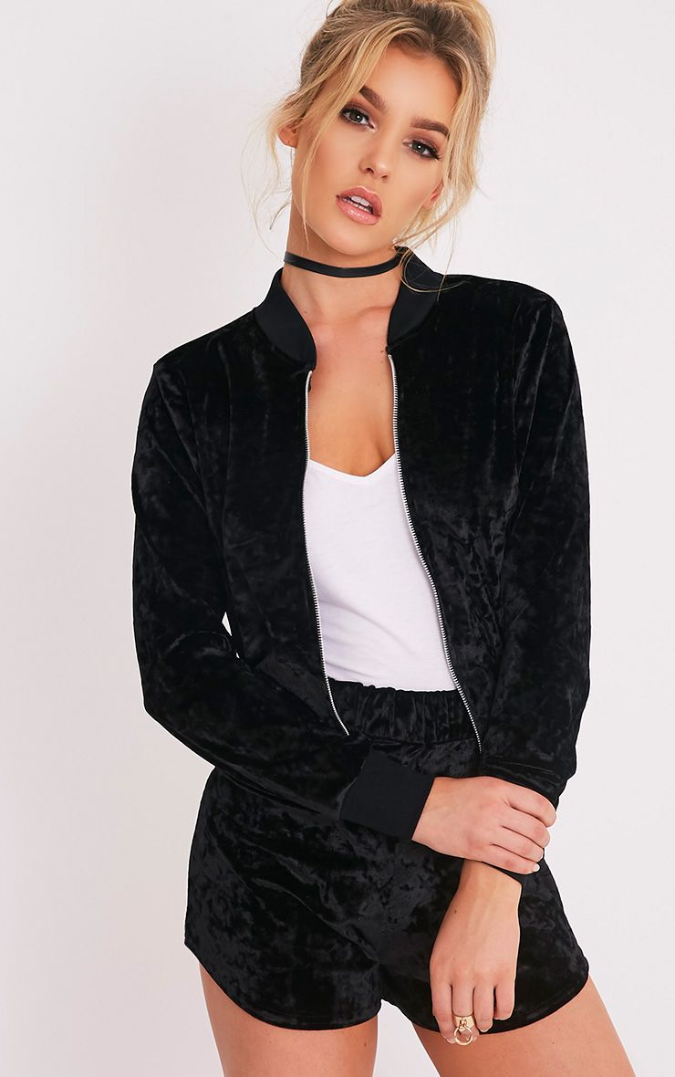 Ayisha Black Crushed Velvet Bomber Jacket 1