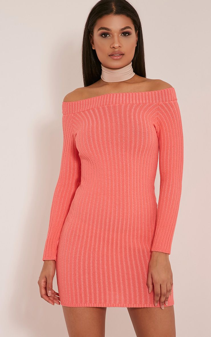 Julia Coral Bardot Mini Jumper Dress