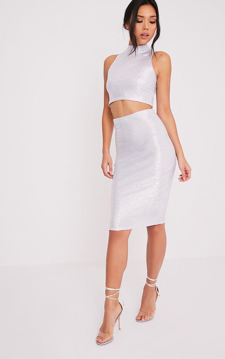 Tamera Silver Metallic Crinkle Midi Skirt