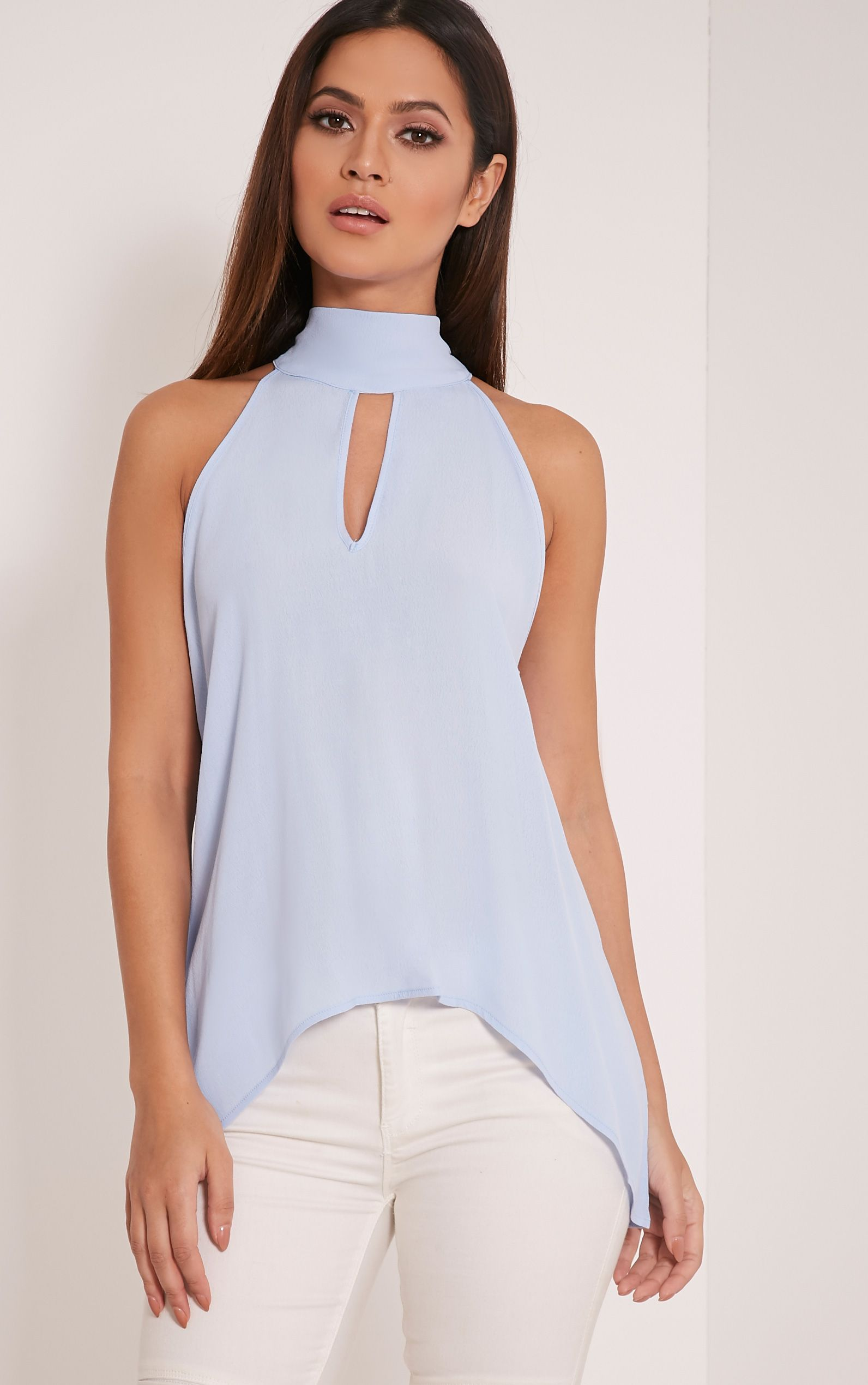 Camiella Powder Blue High Neck Tie Back Top 1