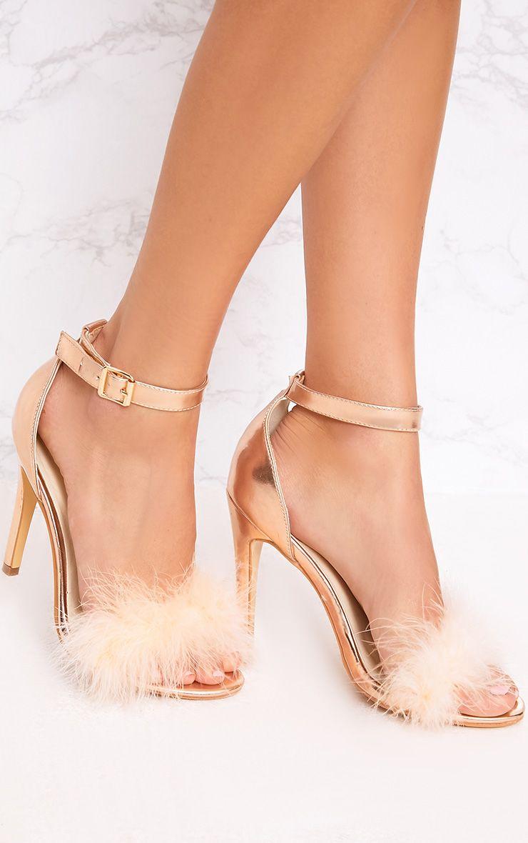 Soraya Nude Fluffy Strap Heels