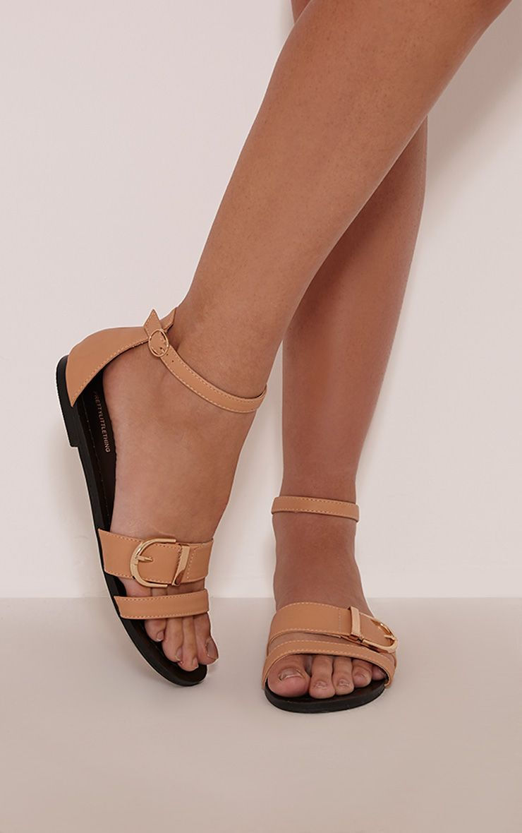 Carolla Nude Faux Leather Buckle Detail Sandals 1