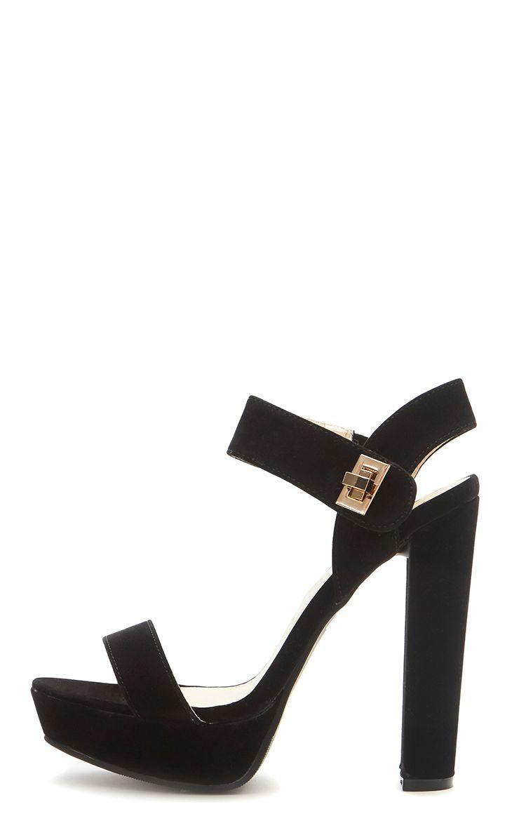 Kimmy Black Suede Twist Lock Block Heeled Sandal  1