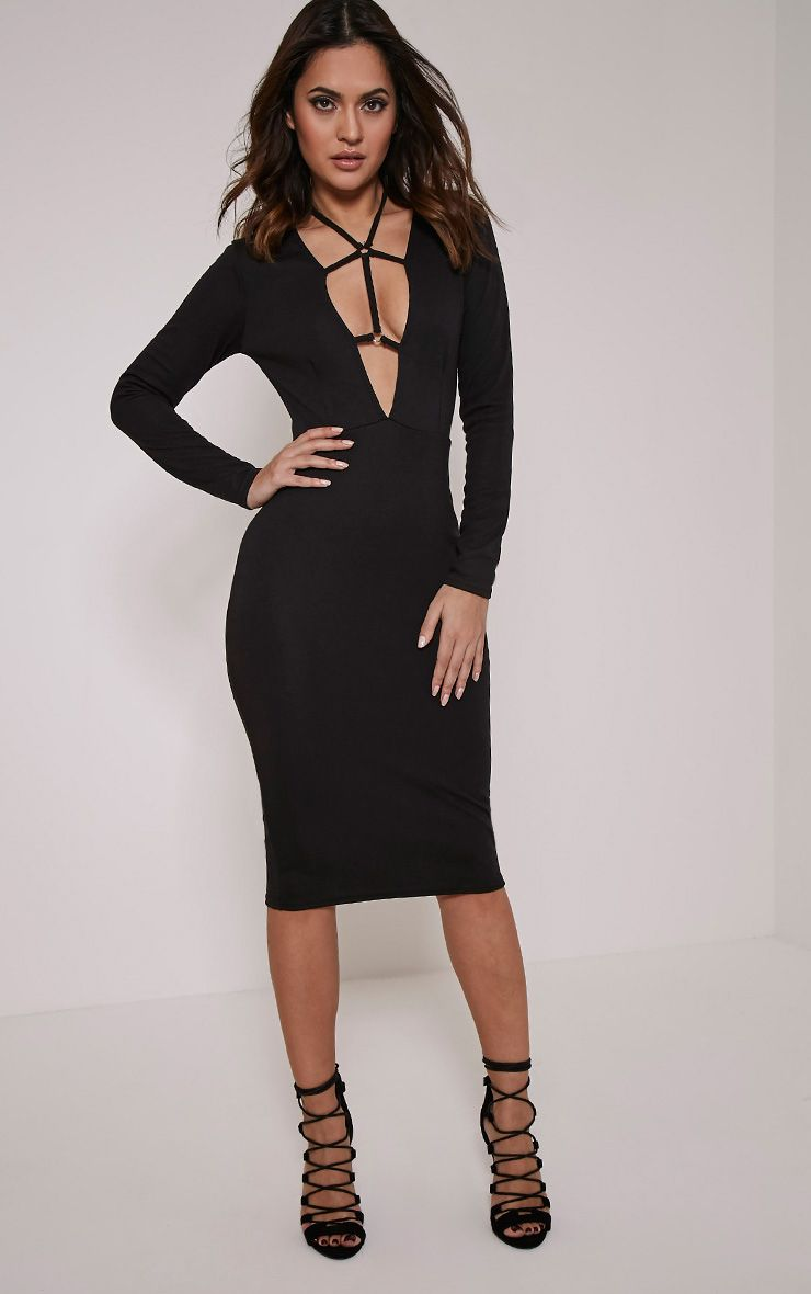 Rudi Black Harness Midi Dress 1