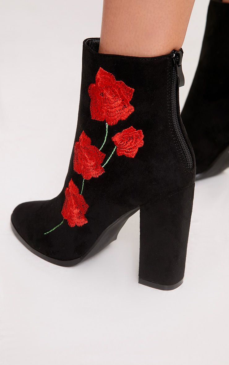Zaira Black Rose Embroidered Ankle Boots Boots
