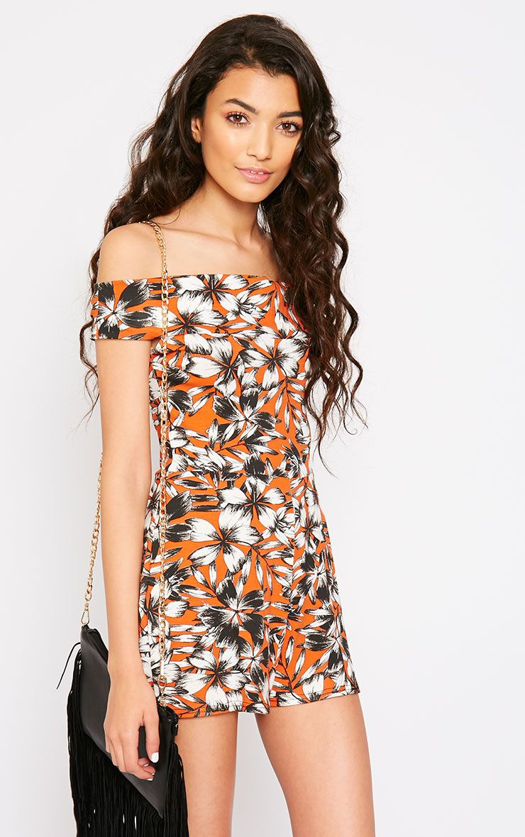 Senta Orange Floral Bardot Playsuit 1
