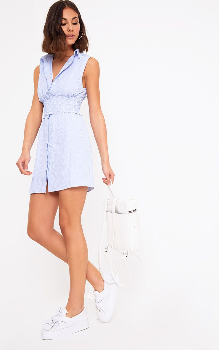 Blue Pinstripe Shirring Detail Shirt Dress