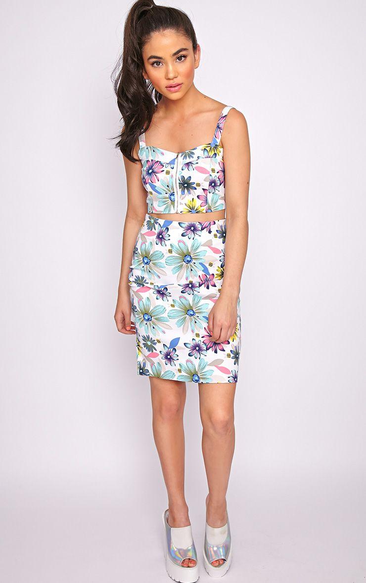 Ashleigh Mint Floral Midi Skirt  1