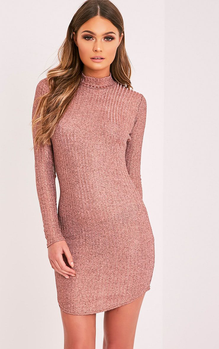 Laila Rose Gold Ribbed High Neck Bodycon Dress 1