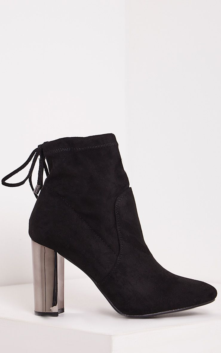 Christal Black Faux Suede Chrome Heel Ankle Boots