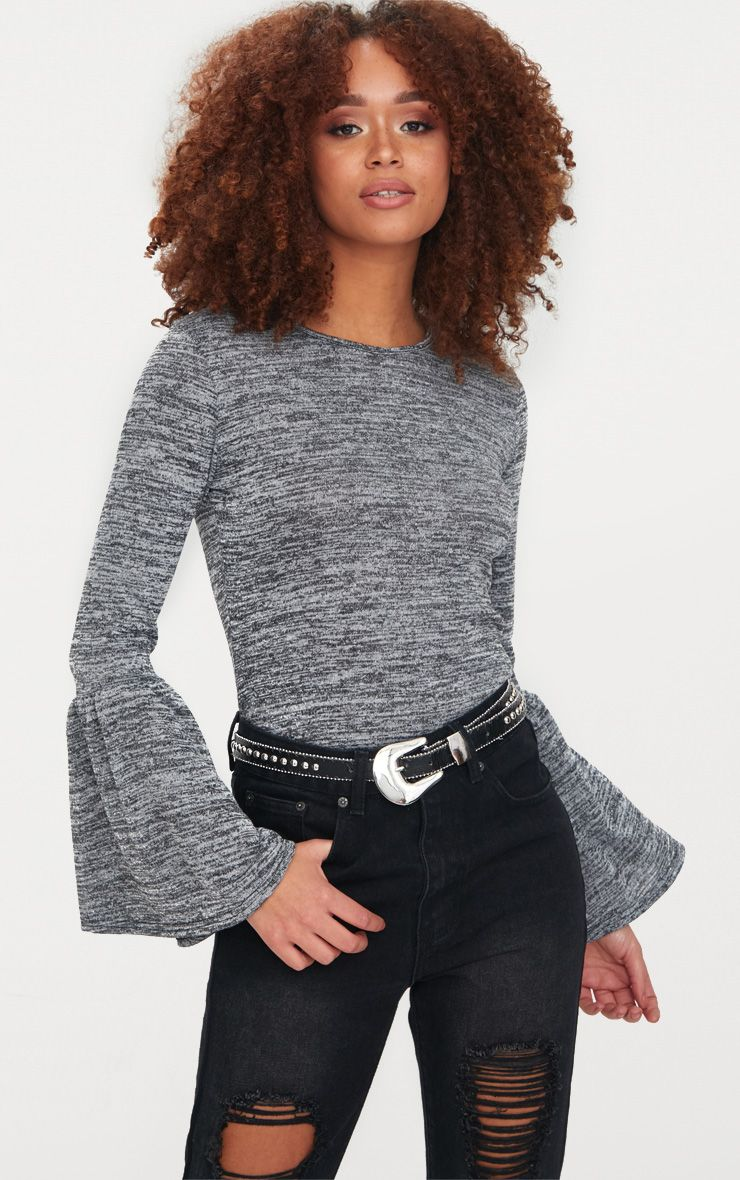 Grey Flare Sleeve Knitted Top