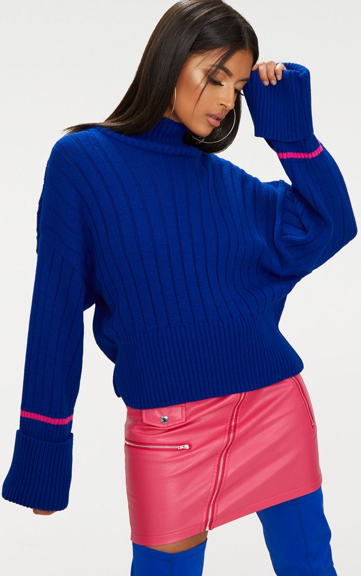 Blue Turnback Stripe Sleeve Jumper 1