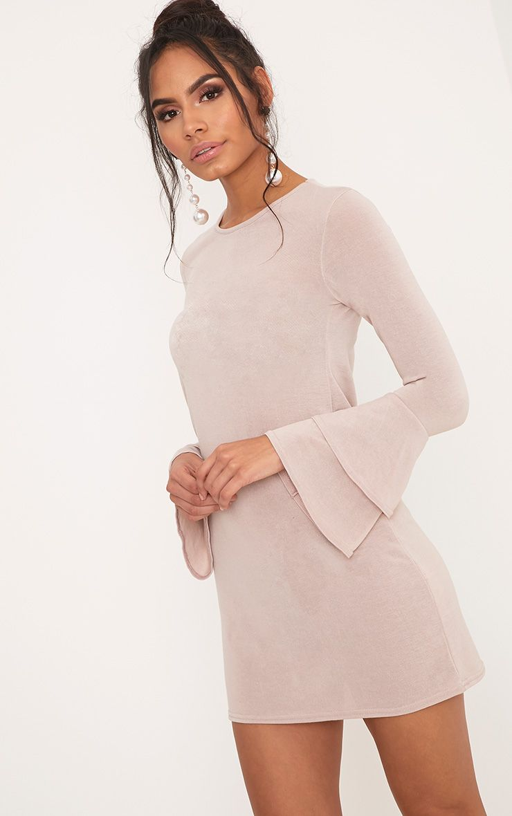 Marlini Stone Double Frill Sleeve Knitted Mini Dress