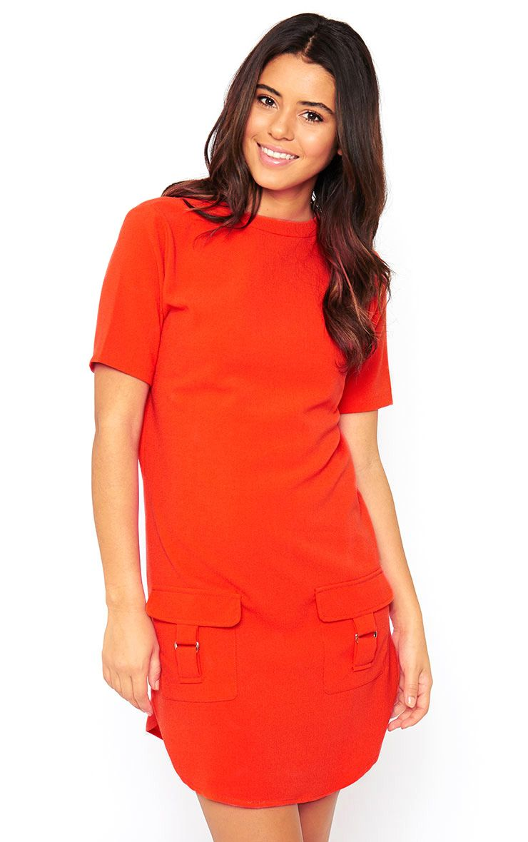 Anastasia Orange Pocket Front Shift Dress 1