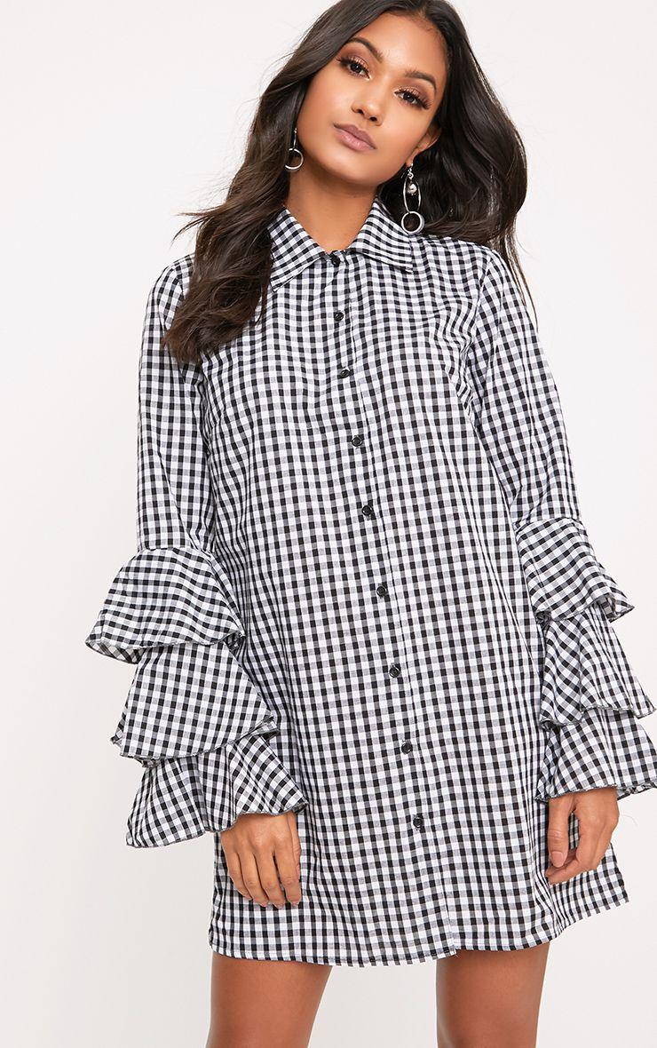 Lupeatarr Black Gingham Triple Frill Sleeve Shirt Dress  1