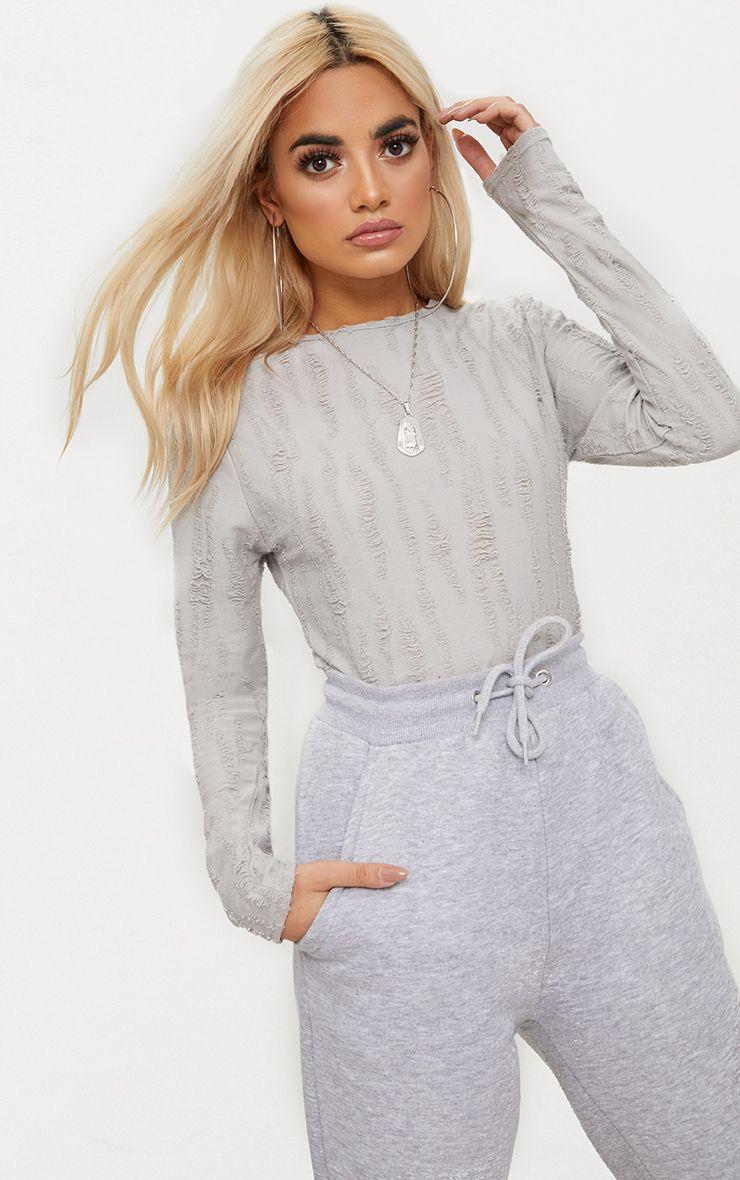 Grey Distressed Long Sleeve Thong Bodysuit