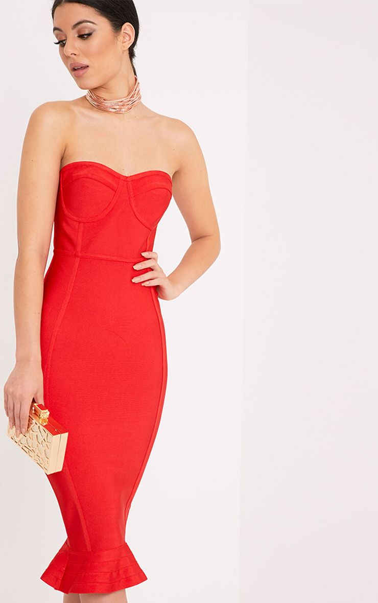 Roxina Red Bandage Frill Hem Midi Dress