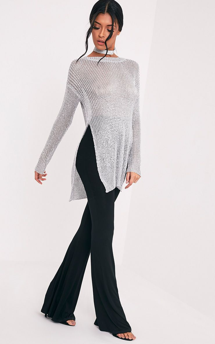 Margarita Metallic silver Knitted Side Split Sheer Oversized Jumper