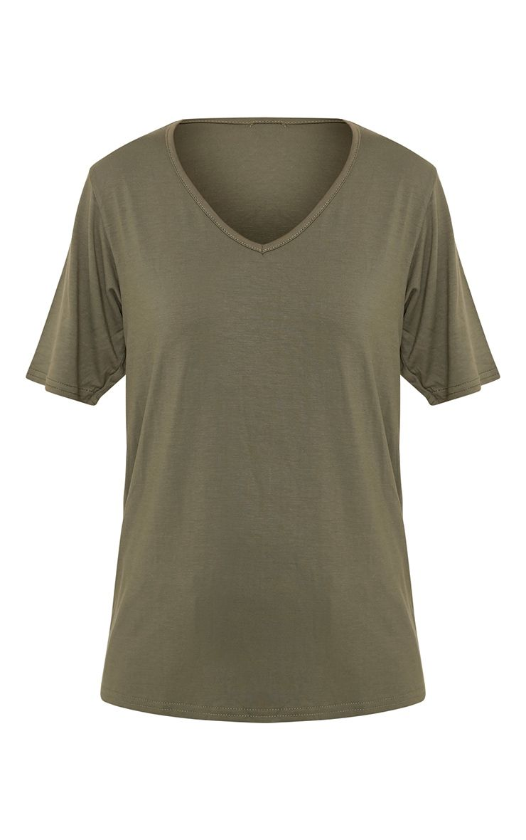 Basic t-shirt surdimensionné kaki col en V 3
