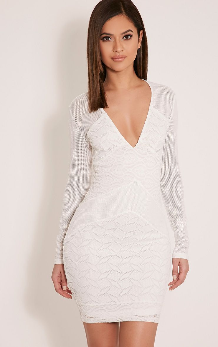 Harley White Lace Insert Bodycon Dress 1