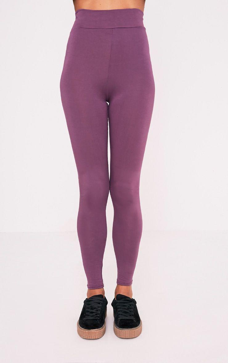 Basic legging aubergine taille haute en jersey 2