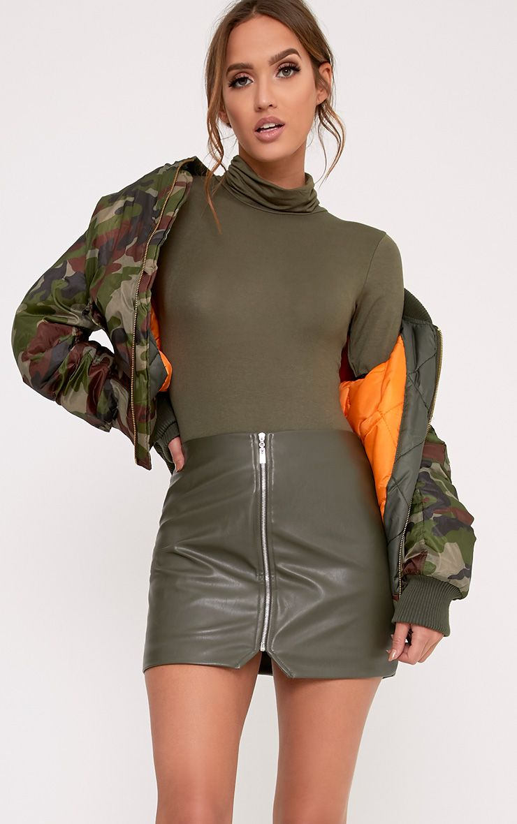 Khaki Roll Neck Long Sleeve Bodysuit
