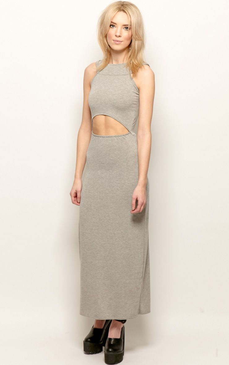 Alexandra Grey Cut Out Maxi Dress 1