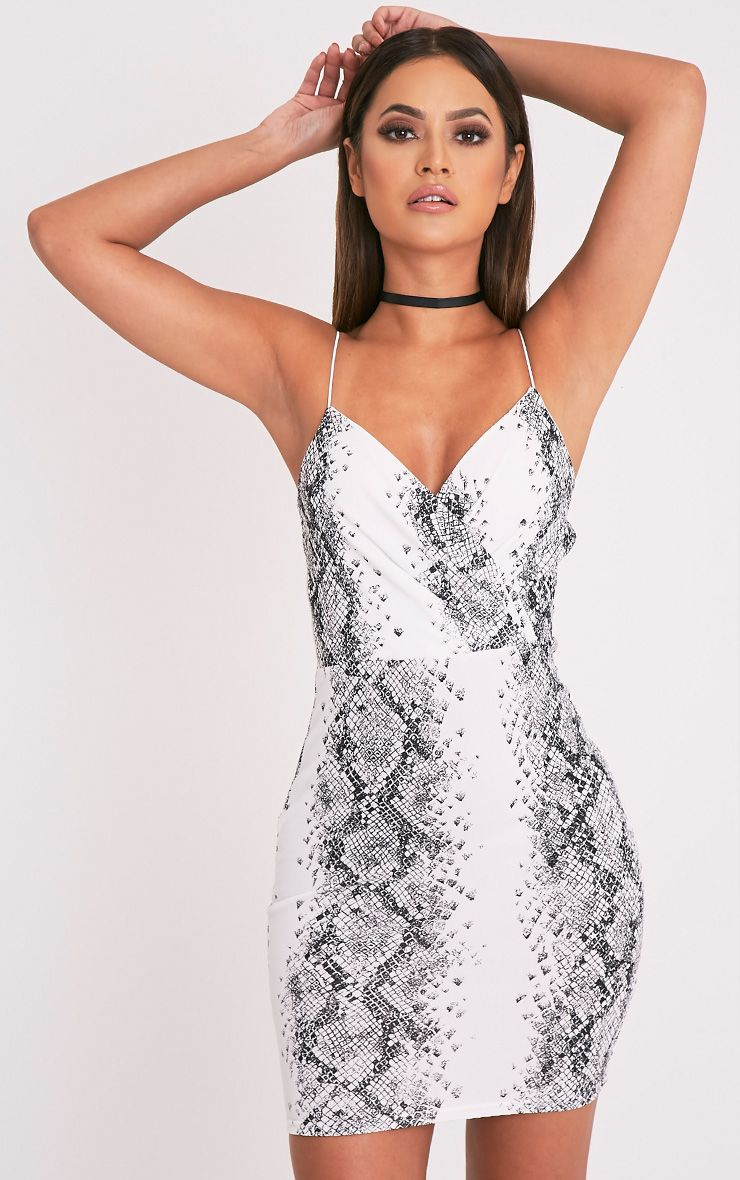 Heidi White Snake Print Strappy Bodycon Dress 1