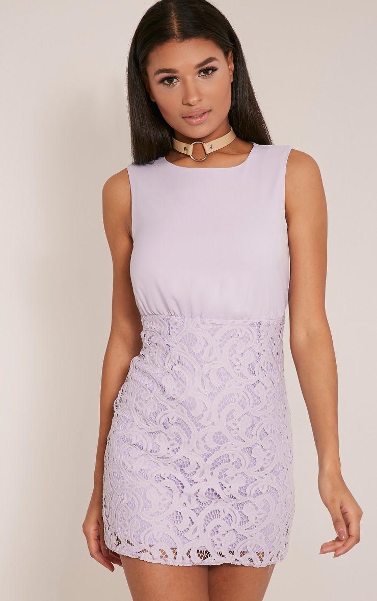 Becca Lilac Lace Detail Mini Dress 1