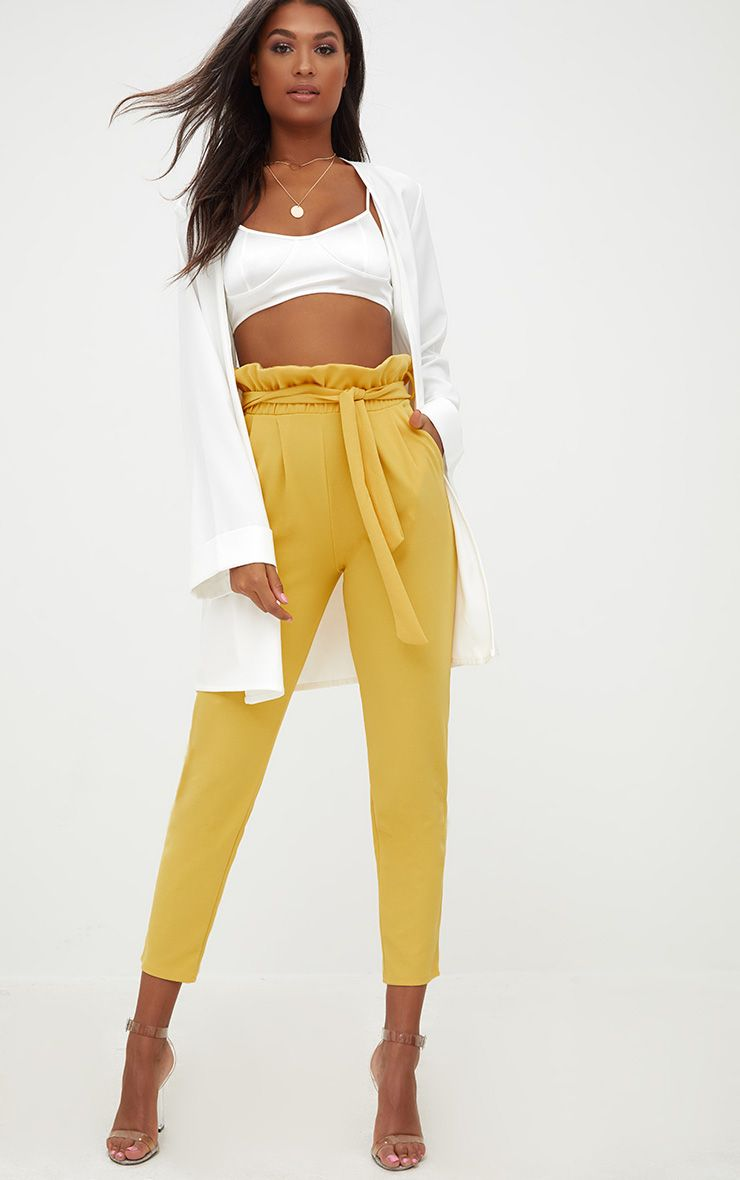 Mustard Paperbag Slim Leg Trousers