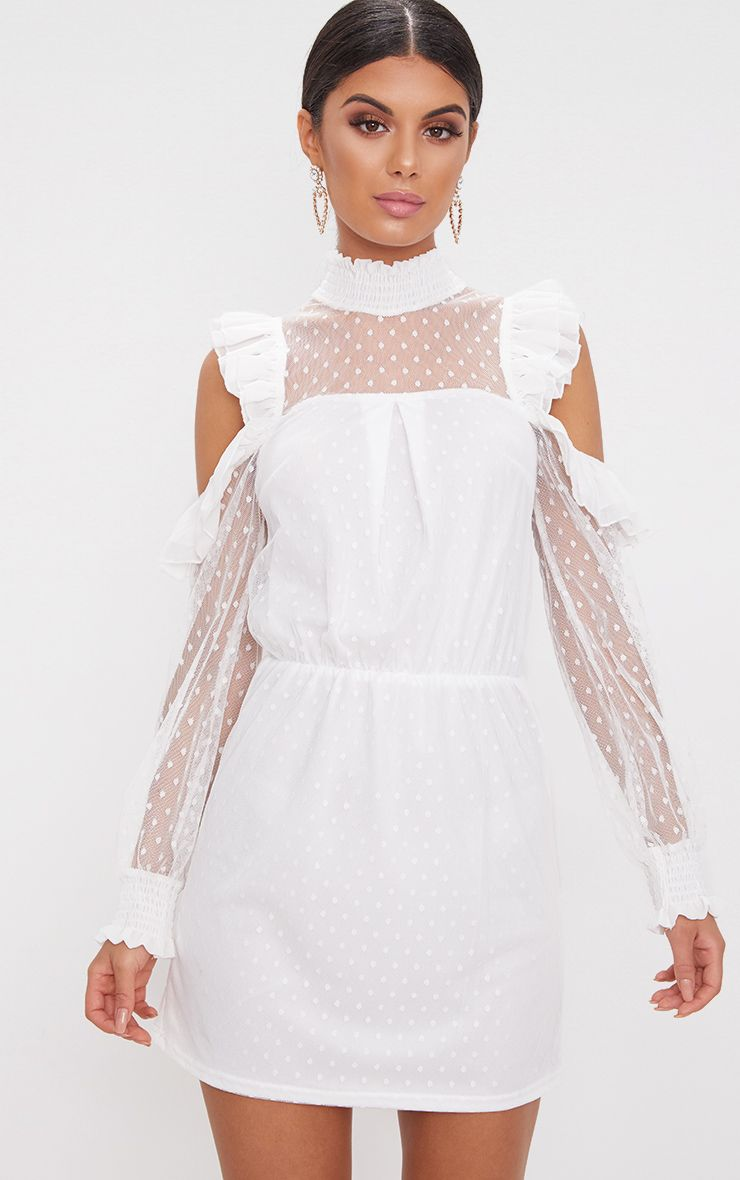 White Lace High Neck Cold Shoulder Frill Detail Skater Dress