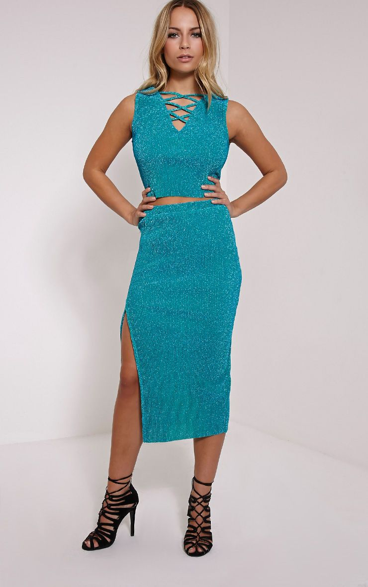 Sira Turquoise Glitter Split Front Ribbed Midi Skirt