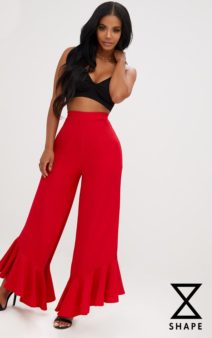Shape Carmelia Red Frill Hem Trousers