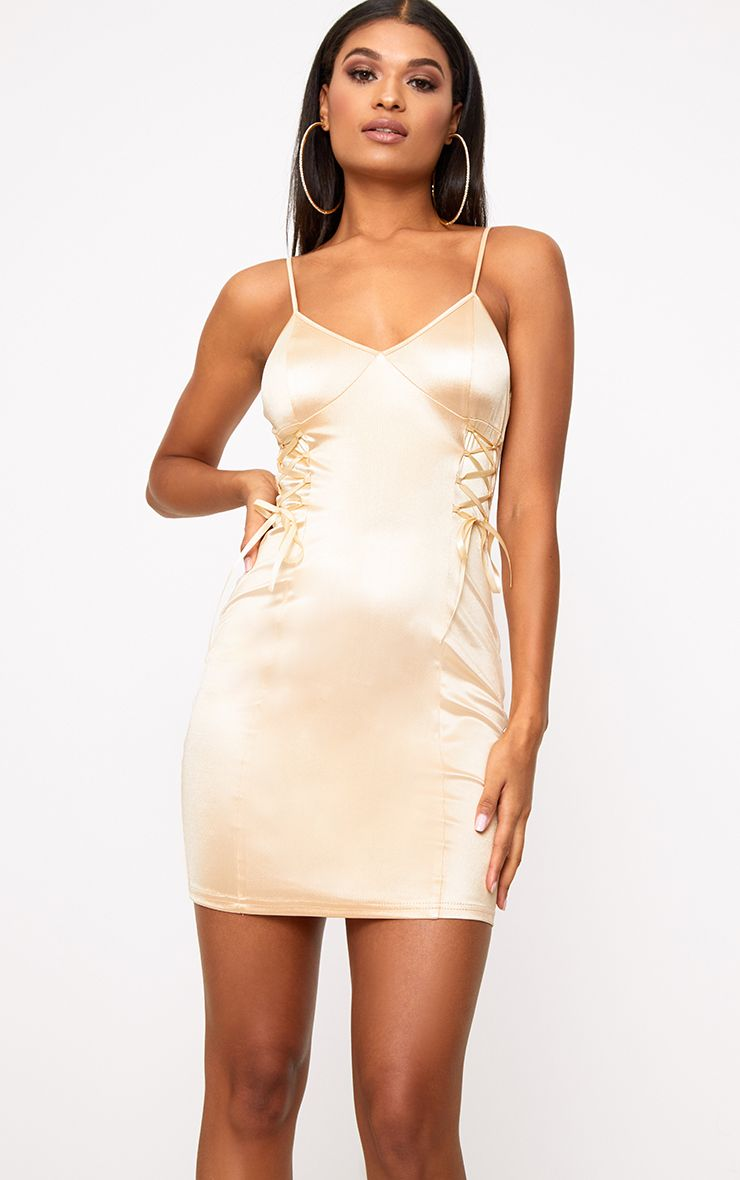Champagne Stretch Satin Lace Up Bodycon Dress