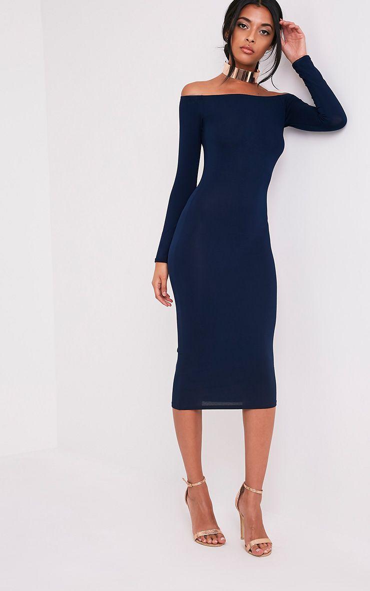Basic robe midi bardot en jersey bleu marine