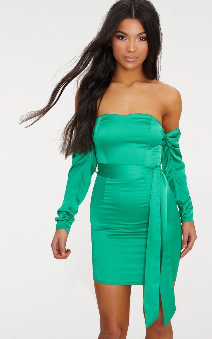 Bright Green Satin Bardot Tie Waist Bodycon Dress | PrettyLittleThing IE