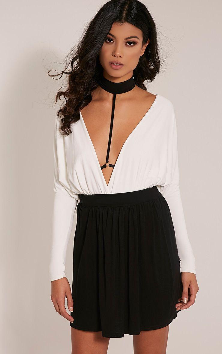 Basic Black Floaty Jersey Mini Skirt 1