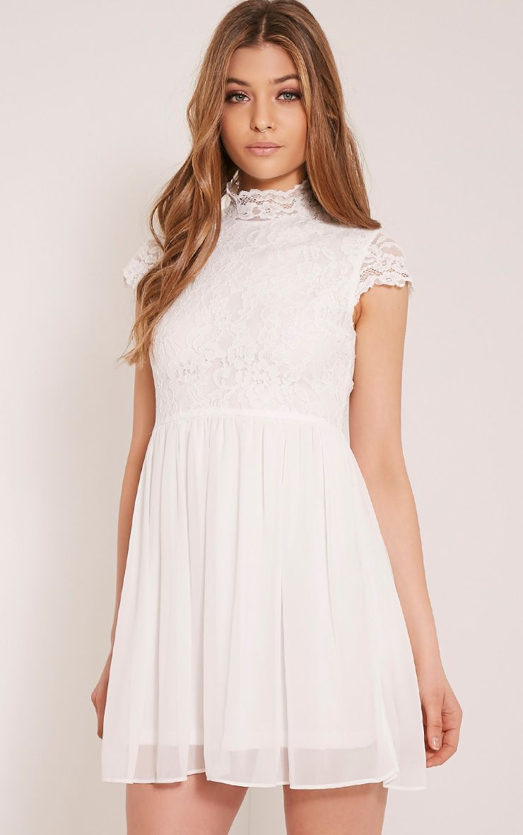 Ella Cream High Neck Lace Skater Dress White