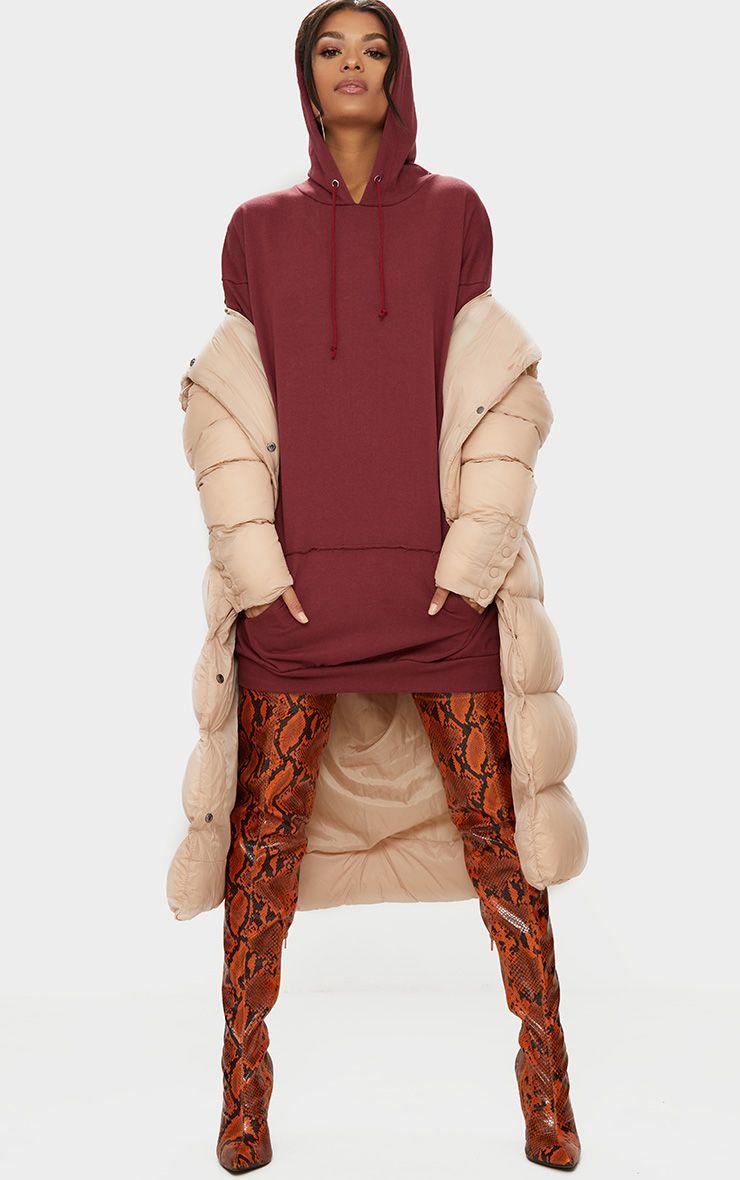 Burgundy Oversized Hoody Dress