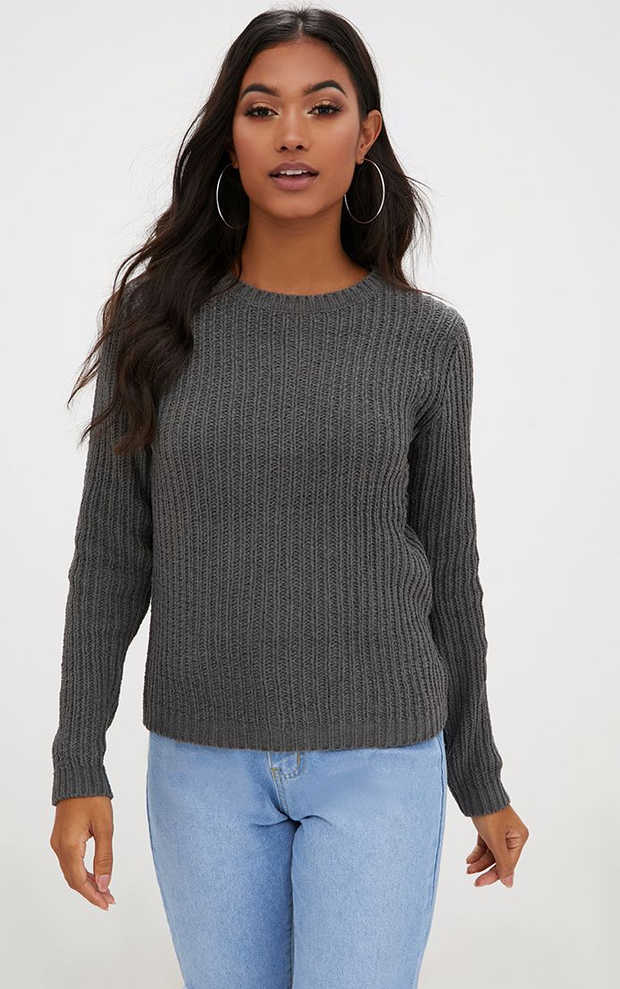 Charcoal Chenille Fisherman Rib Jumper