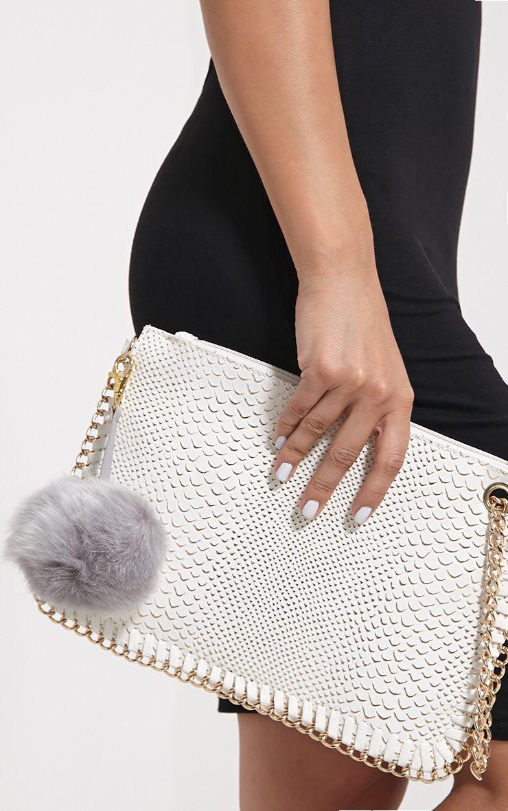 Milly Grey Fur Pom Pom Key Chain 1