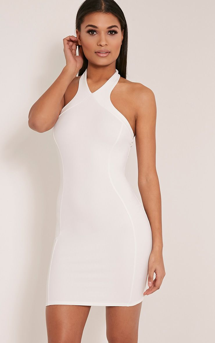 Kathy White Halterneck Crepe Bodycon Dress 1