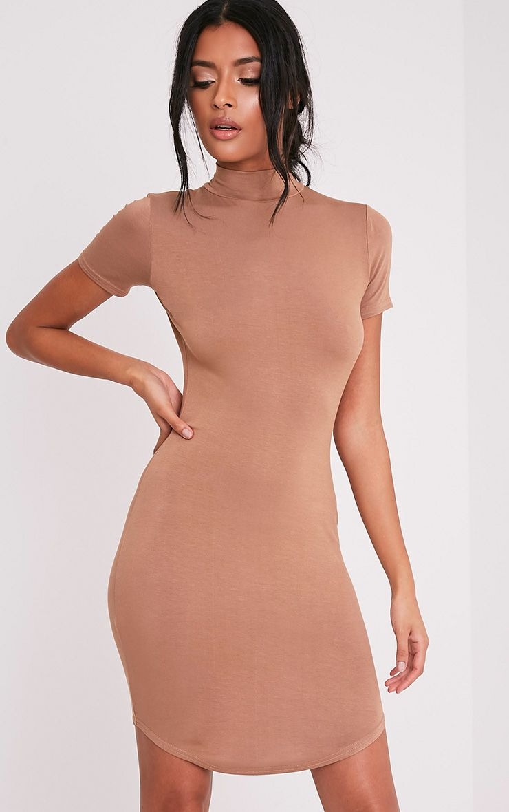 Alby Camel Cap Sleeve Curve Hem High Neck Dress