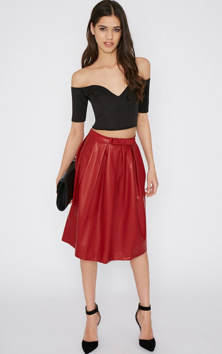 Helle Red Leather A Line Midi Skirt 1