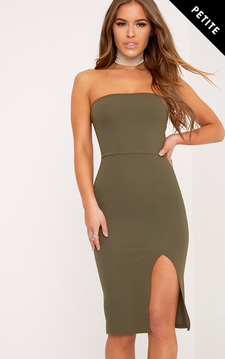 Petite Petunia Khaki Bandeau Bodycon Midi Dress