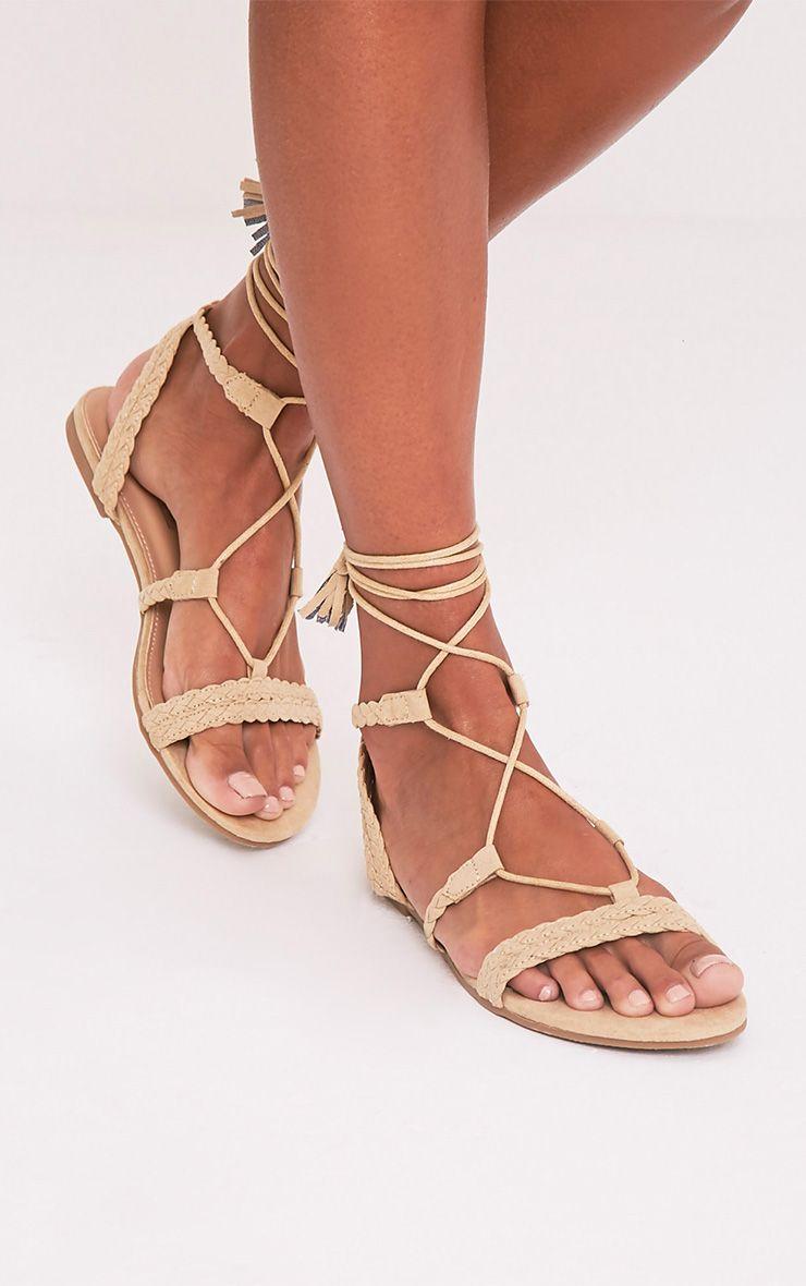 Catia Beige Lace Up Detail Sandals