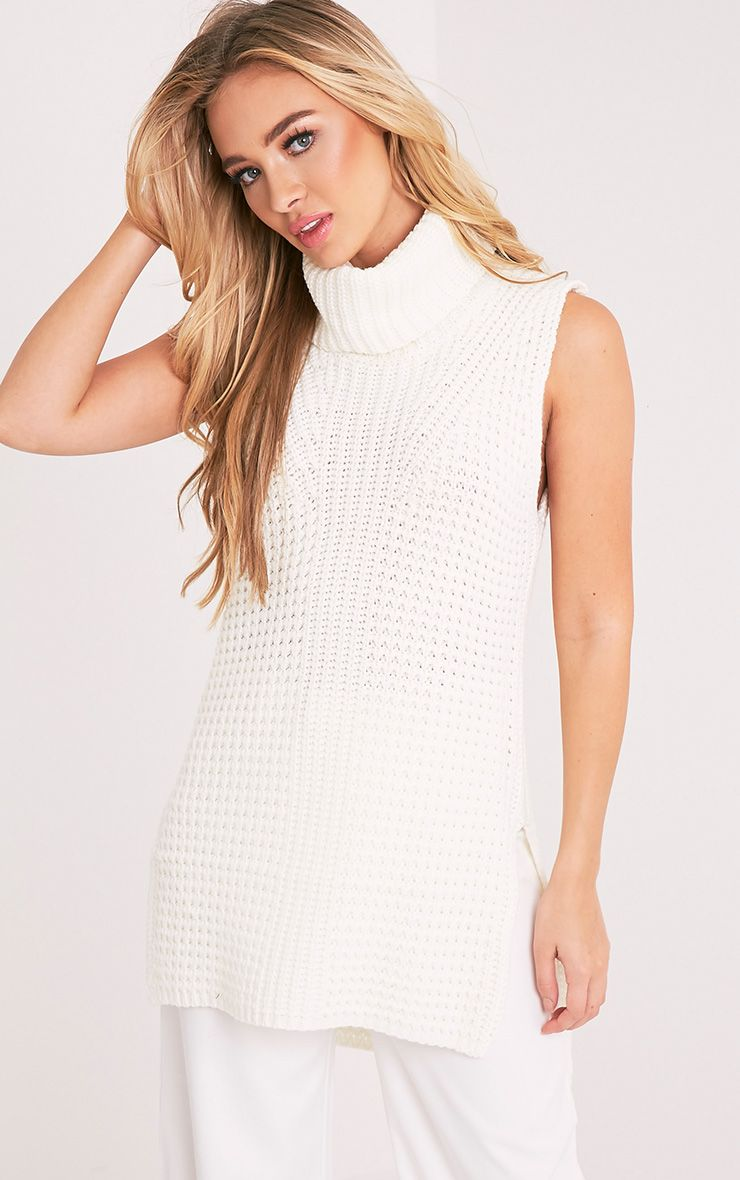 Zuzanna Cream Roll Neck Sleeveless Chunky Jumper 1