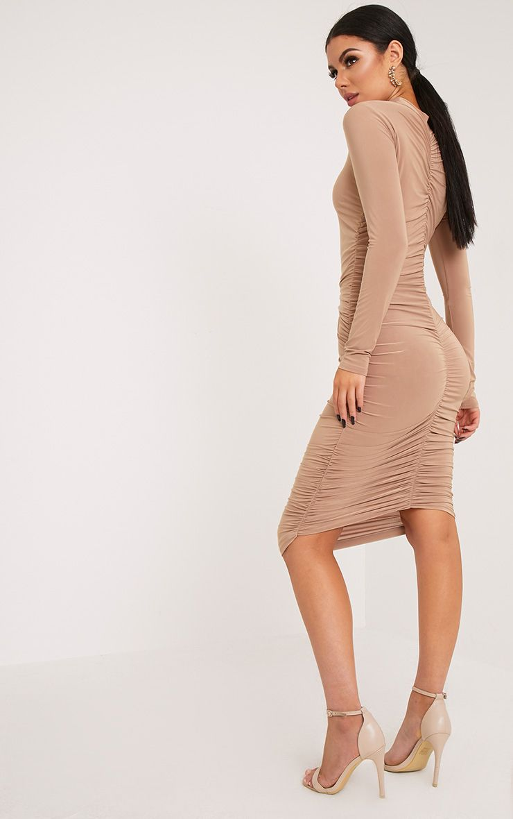 Niyah Camel Slinky Ruched Midi Dress